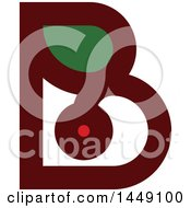 Clipart Graphic Of A Retro Flat Styled Berry And Leaf Letter B Design Royalty Free Vector Illustration by elena