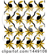 Clipart Graphic Of A Geometric Seamless Toucan And Palm Tree Pattern Royalty Free Vector Illustration