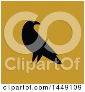 Clipart Graphic Of A Black Silhouetted Crow On Yellow Royalty Free Vector Illustration