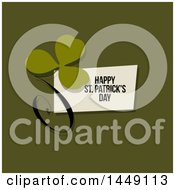 Clipart Graphic Of A Retro Styled Clover With A Happy St Patricks Day Greeting On Green Royalty Free Vector Illustration