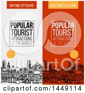 Clipart Graphic Of Line Styled City Skyline With Worlds Most Popular Tourist Locations And Text Royalty Free Vector Illustration