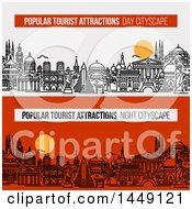Clipart Graphic Of Line Styled City Skylines With Worlds Most Popular Tourist Locations And Text Royalty Free Vector Illustration