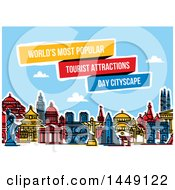 Clipart Graphic Of A Colorful Line Styled City Skyline With The Worlds Most Popular Tourist Attractions And Text Royalty Free Vector Illustration