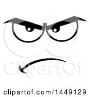 Clipart Graphic Of A Black And White Mad Face Royalty Free Vector Illustration