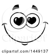 Clipart Graphic Of A Black And White Smitten Face With Heart Eyes Royalty Free Vector Illustration