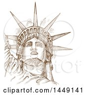 Clipart Graphic Of A Brown Sketched Or Engraved Statue Of Liberty Face Royalty Free Vector Illustration by Domenico Condello