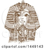 Clipart Graphic Of A Brown Sketched Or Engraved Tutankhamon Mask Royalty Free Vector Illustration