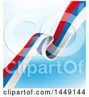 Clipart Graphic Of A Diagonal Russian Ribbon Flag On Blue And White Royalty Free Vector Illustration