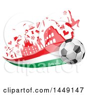 Clipart Graphic Of A Soccer Ball With An Italian Flag Trail Under Icons Royalty Free Vector Illustration