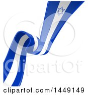 Poster, Art Print Of Blue And White Israel Ribbon Flag Spanning A Background Diagonally