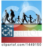 Clipart Graphic Of A Crowd Of Silhouetted Immigrants Over An American Flag Royalty Free Vector Illustration