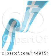 Clipart Graphic Of A Diagonal Greek Ribbon Flag On White Royalty Free Vector Illustration by Domenico Condello