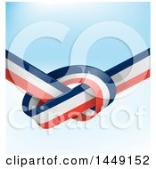 Clipart Graphic Of A Knotted French Ribbon Flag Over Gradient Royalty Free Vector Illustration