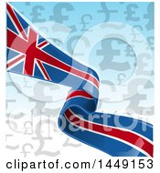 Poster, Art Print Of English Ribbon Flag Brexit Over Pound Currency Symbols On Gradient