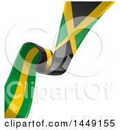 Poster, Art Print Of Green Yellow And Black Jamaican Ribbon Flag Border Between White And Blue