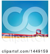 Poster, Art Print Of Armenian Ribbon Flag Border Between White And Blue