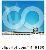 Poster, Art Print Of Barbados Ribbon Flag Border Between White And Blue