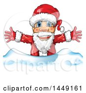 Clipart Graphic Of A Happy Christmas Santa Claus Behind Snow Royalty Free Vector Illustration by Domenico Condello