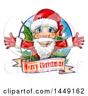 Clipart Graphic Of A Happy Christmas Santa Claus Over A Greeting With Holly Royalty Free Vector Illustration
