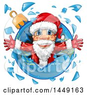 Clipart Graphic Of A Happy Christmas Santa Claus Breaking Through A Glass Bauble Royalty Free Vector Illustration by Domenico Condello