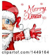 Clipart Graphic Of A Partial Happy Christmas Santa Claus With Merry Xmas Text Royalty Free Vector Illustration by Domenico Condello