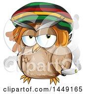 Cartoon Rasta Owl Smoking A Doobie