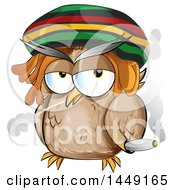 Clipart Graphic Of A Cartoon Rasta Owl Smoking A Doobie Royalty Free Vector Illustration by Domenico Condello