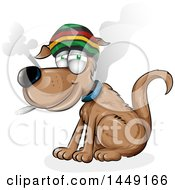 Clipart Graphic Of A Cartoon Rasta Dog Smoking A Joint Royalty Free Vector Illustration