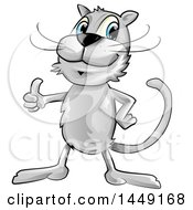 Clipart Graphic Of A Cartoon Gray Cat Giving A Thumb Up Royalty Free Vector Illustration