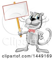 Clipart Graphic Of A Cartoon Happy Gray Cat Holding A Blank Sign Royalty Free Vector Illustration