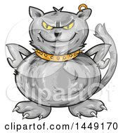 Clipart Graphic Of A Cartoon Angry Gray Cat With Hands On His Hips Royalty Free Vector Illustration