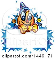 Clipart Graphic Of A Cartoon Clown Over A Sign With Stars Royalty Free Vector Illustration