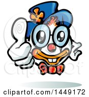 Clipart Graphic Of A Cartoon Clown Holding A Thumb Up Royalty Free Vector Illustration