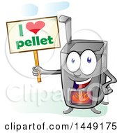 Clipart Graphic Of A Cartoon Pellet Stove Mascot Holding A Sign Royalty Free Vector Illustration