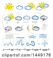 Clipart Graphic Of Weather Icons Royalty Free Vector Illustration