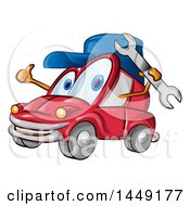 Clipart Graphic Of A Cartoon Car Mascot Mechanic Holding A Wrench And Giving A Thumb Up Royalty Free Vector Illustration