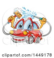 Cartoon Happy Red Car Mascot Washing Itself