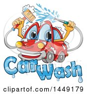 Clipart Graphic Of A Cartoon Happy Red Car Mascot Washing Itself Over Text Royalty Free Vector Illustration by Domenico Condello