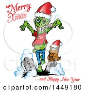 Clipart Graphic Of A Christmas Zombie And Owl In A Cemetery With Greetings Royalty Free Vector Illustration