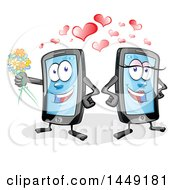 Clipart Graphic Of A Cartoon Smart Phone Mascot Couple With Love Hearts Royalty Free Vector Illustration