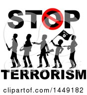 Clipart Graphic Of A Stop Terrorism Design With Silhouetted Armed Men Royalty Free Vector Illustration
