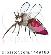 Clipart Graphic Of A Cartoon Evil Mosquito With Blood Dripping Royalty Free Vector Illustration