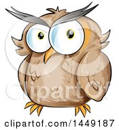 Clipart Graphic Of A Cartoon Brown Owl Royalty Free Vector Illustration
