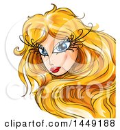 Clipart Graphic Of A Woman With Long Lashes And Blond Hair Looking Back Royalty Free Vector Illustration