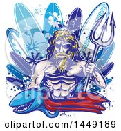 Clipart Graphic Of A Shark And Poseidon With Surfboards Royalty Free Vector Illustration
