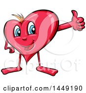 Clipart Graphic Of A Cartoon Happy Heart Mascot Holding Up A Thumb Royalty Free Vector Illustration