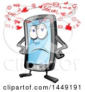 Clipart Graphic Of A Cartoon Exhausted Smart Phone Mascot Seeing Social Media Icons Royalty Free Vector Illustration