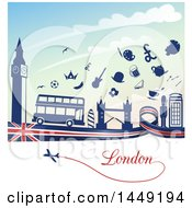 Clipart Graphic Of A Flag Ribbon With Silhouetted Icons And Landmarks Against Sky Royalty Free Vector Illustration