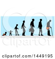 Clipart Graphic Of The Evolution From Baby To Old Man Over Blue Royalty Free Vector Illustration by Domenico Condello