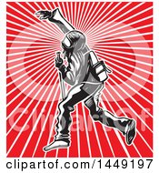 Clipart Graphic Of A Black Bloc Protestor Over Rays Royalty Free Vector Illustration
